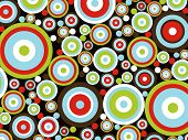 Fun Retro Circles And Rings Pattern (Vector)