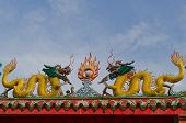 Golden Dragons On The Chinese Temple With Blue Sky