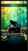 Discoteca o cartaz do evento com um Jockey do disco remixando dois discos com uma cachoeira de glitters lghts na