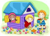Illustration of Kids Playing in a Playhouse