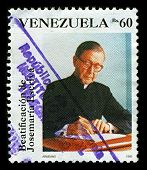 VENEZUELA-CIRCA 1992:A stamp printed in VENEZUELA shows image of Saint Josemaria Escriva de Balaguer was a Roman Catholic priest from Spain who founded Opus Dei, circa 1992.