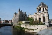 stock photo of gents  - Gravensteen castle reflecting in the river - JPG