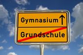 German Road Sign  Elementary School And Secondary School
