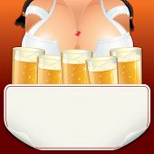 Curvy Oktoberfest waitress Girl with lot of Beer In Mugs.