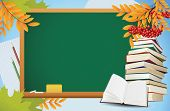 School Autumn Background With Blackboard, Books And Yellow Leaves, Vector