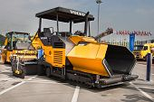 Moscow, Russia - June 02:  Yellow Asphalt Spreader On Display At Moscow International Exhibition Con