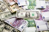 picture of ten thousand dollars  - Dollars and euro background - JPG