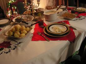 picture of christmas dinner  - Christmas dinner table during 24th december full of food - JPG