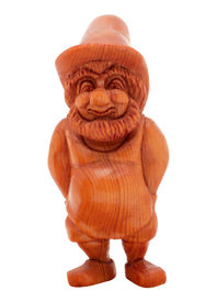 stock photo of  midget elves  - very cute figurine of a gnome made out of wood - JPG