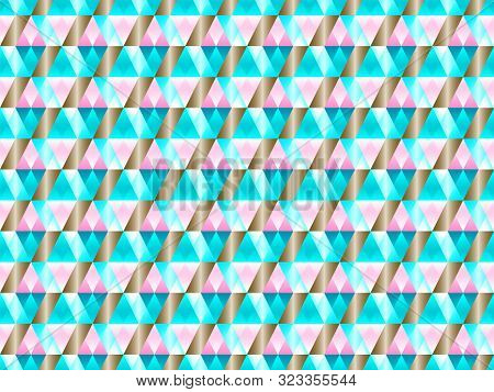 poster of Poly Art Grid Geometric Seamless Vector Background. Hypnotic Polygon Triangles Geometric Bauhaus Des