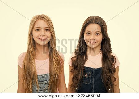 poster of Healthy And Shiny Hair. Kid Cute Child With Long Adorable Hairstyle. Hair Care Tips And Professional