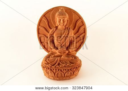 poster of Figurine Sitting Statue Healing Buddha Isolated On White Background / Tibetan And Indian Medicine Bu
