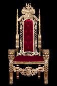 Red Royal Chair Isolated On Black Background. Place For The King. Throne. Tsars Chair. poster