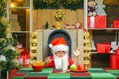 Santa In Home. Christmas Beard Style. Funny Child Christmas. Santa Claus - Bearded Funny Child. Milk poster