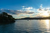 Matsushima Bay Sightseeing Cruises In Beautiful Dusk. Matsushima Bay Is Ranked As One Of The Three V poster