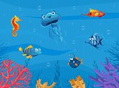 Undersea World, Cute Marine Animals Background, Underwater Sea Scene With Tropical Fishes Vector Ill poster