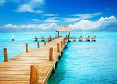 foto of dock  - Vacations And Tourism Concept - JPG