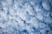Unusual Looking Fluffy White Clouds On A Blue Sky Cloudy Sky As A Symbol For Climate, Climate Change poster