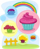 Illustration of Colorful Cupcake Design Elements
