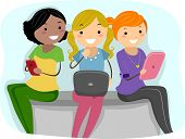 Illustration of Girls Using Tablet PCs