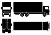 Box Truck Silhouette On White Background. Vehicle Icons Set View From Side, Front, Back, And Top poster