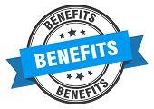 Benefits Label. Benefits Blue Band Sign. Benefits poster