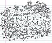 Hand-Drawn Welcome Back to School Sketchy Notebook Doodles with Lettering, Shooting Stars, and Swirl