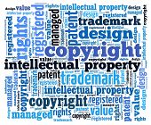 Intellectual property and related words in word collage