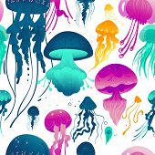 Glowing Jellyfish Seamless Pattern - Colorful Sea Creatures poster