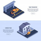 Isometric Taxi Banners Set With Images Of Taxi Cabs People Editable Text And Read More Button Vector poster