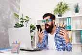 Welcome Mobile Ordering Now. Crazy Brutal Hipster Shouting At Mobile Phone In Office. Bearded Man Wi poster