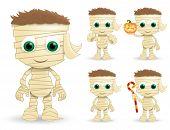 Mummy Halloween Vector Characters Set. Mummys Character Creature Wearing Halloween Costume In Paper  poster