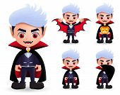 Vampire Halloween Characters Vector Set. Male Vampire Dracula Character Wearing Halloween Costume Wi poster