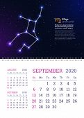 Wall Calendar For September 2020 Year With Virgo Zodiac Constellation. Virgo Star Sign And Dates Of  poster