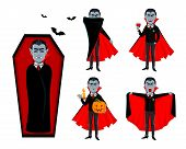 Happy Halloween. Handsome Vampire Cartoon Character In Cape, Set Of Five Poses. Vector Illustration  poster
