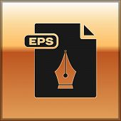 Black Eps File Document. Download Eps Button Icon Isolated On Gold Background. Eps File Symbol. Vect poster