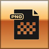 Black Png File Document. Download Png Button Icon Isolated On Gold Background. Png File Symbol. Vect poster