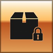Black Locked Package Icon Isolated On Gold Background. Lock And Cardboard Box. Vector Illustration poster