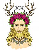 Portrait Of The Young Man In A Wreath With Deer Horns. Pagan God Cernunnos. Mysticism, Esoteric, Pag poster