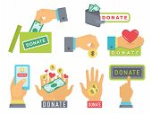 Donate Buttons Set. Help Icon Donation Blood. Gift Charity. Isolated Support Design Sign. Human Hand poster