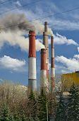 Smoking Chimneys Of Thermal Power Plants