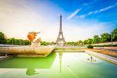 Paris Eiffel Tower And Trocadero Garden At Sunrise In Paris, France. Web Banner Format. Eiffel Tower poster