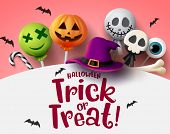 Halloween Trick Or Treat With Sweet Candies Vector Background. Halloween Trick Or Treat Text In Empt poster