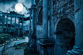 Rome At Night, Italy. Fantasy View Of Old Roman Forum, Landmark Of Rome. Mysterious Ancient Ruins Of poster