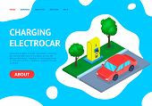 Charging Station Car Concept Landing Web Page Template. Vector Illustration Of Design Project For Bu poster