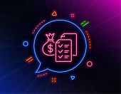 Accounting Wealth Line Icon. Neon Laser Lights. Audit Report Sign. Check Finance Symbol. Glow Laser  poster