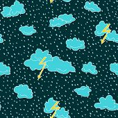Seamless Pattern Of Lightning, Clouds And Raindrops Hand Drawn  In Cartoon Style. Vector Illustratio poster