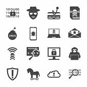 Cyber Crime And Attack Icons Set With Information And Money Theft Fishing Hackers Virus Bomb Trojan  poster