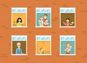 People Looking Out Of Windows Set, Neighbors In Their Apartments Greeting Through The Windows Vector poster