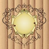 Patterned Frame With Parchment On Wooden Background